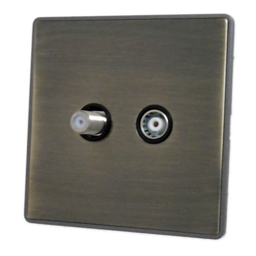 G&H LAB38B Screwless Antique Bronze 1 Gang TV Coax & Satellite Socket Point